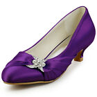 EP2006L Purple Closed Toe Rhinestones Low Heel Satin Evening Party Shoes UK 2-9
