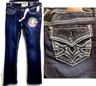 Hydraulic blue embroidered original fit boot cut jeans 7/8 14 16 18 20 22 24 26