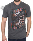 Harley-Davidson Mens Knuckle Scraper Skull V-Neck Charcoal Short Sleeve T-Shirt