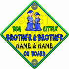 Yellow, Blue & Green SUN BIG BROTHER & LITTLE BROTHER Baby On Board Car Sign