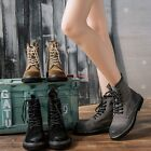 Womens Casual Lace Up Retro Ankle Boots Flat Heel England Fashion Shoes Combat