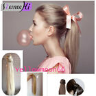 Instant Straight Ponytail Hair Extension Human Hair Wrap Ponytail Hairpiece Clip