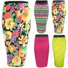 WOMENS BODYCON FLORAL PRINT STRETCH PENCIL SKIRTS LADIES SKIRT LONG MIDI LENGTH