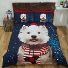 Christmas Easy Care Photographic Dog Print Duvet Set with Pillow Case