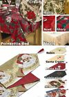 Christmas Xmas Table Cloths OR Runners OR Napkins Large Small Round Square Red
