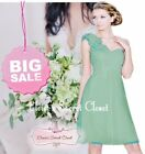 ASHA Bamboo Sage Green Knee Length Corsage Chiffon Bridesmaid Dress UK SALE!!