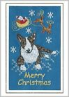 Bull Terrier Christmas Card Embroidered by Dogmania