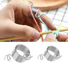 1Pc Stainless Steel Knitting Tool Finger Thimble Yarn Stranding Guide Silver