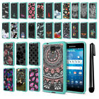 For Kyocera Hydro View C6742 Hybrid Clear Teal bumper Case Phone Cover + Pen