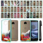 For Motorola Moto Z Droid Edition Hybrid Clear TPU Teal bumper Case Cover + Pen