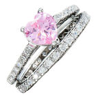 .925 Sterling Heart Pink Cubic Zirconia Wedding Ring Set Solitaire with Accents