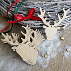 10x Christmas Wood Chip Tree Ornaments Xmas Hanging Pendant Decor Brand New CA