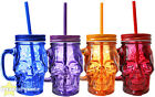 SKULL MASON JAR GLASS DAY OF THE DEAD COLOURED PARTY GLASS HALLOWEEN ACCESSORY