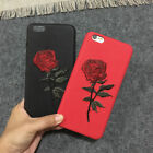 Cell Phone Embroidery Red Rose Soft Protector Silicone Case Gift for iPhone 6/7