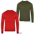 Mens Luxury Crew Neck Plain Chunky Cable Knitted Sweater Jumper Top Size S - XL