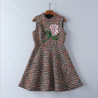 Autumn/winter Occident fashion sequined flower nail bead tweed sleeveless dress