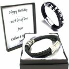 Leather & Stainless Steel Engraved Wrap Bracelet Personalised Box Birthday Gifts