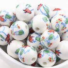 Lots Of 10/20PCS White Ceramic Porcelain Round Loose Floral Beads Jewelry Making