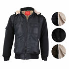 Maximos Men's Premium Hooded Multi Pocket Sherpa Lined Bomber Jacket Coat K-2016
