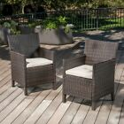 Cyrus Outdoor Wicker Dining Chairs with Water Resistant Cushions (Set of 2)