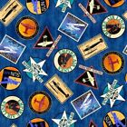 Aviator Logos Plane Travel Airline Patches Royal Blue Cotton Fabric by the Yard