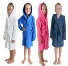 boys girls kids terry 100% cotton towelling hooded dressing gowns robes bathrobe