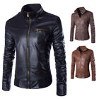 Männer Herren PU-Lederjacke Mode Warm Winter Slim Coat Parka Jacke Mantel