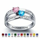 Couples Name Birthstone Ring Personalized Wedding Engagement Promise Ring Gifts