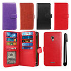 For Alcatel Fierce 4 Allura 5056 Flip Holder Wallet Cover Case Wrist Strap + Pen