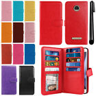 For Motorola Moto Z Play Droid XT1635 Flip Wallet Cover Case Wrist Strap + Pen
