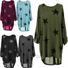 Womens Fashion Star Print Batwing Lagenlook Tunic Dress Top Casual Baggy Blouse