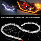 2pc Switchback Flowing LED Strip Light Sequential Turn Signal Headlight Retrofit