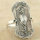 CLASSIC ART DECO .925 STERLING SILVER SIM DIAMOND ANTIQUE STYLE RING,      #1047