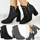 Womens Ladies Block Mid High Cuban Heel Ankle Boots Studded Chunky Shoes Size