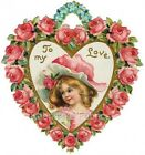 Victorian Valentine Girl Roses Love Quilt Block Multi Szs FrEE ShiP WoRld WiDE