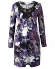 Together purple forest print tunic jersey top / dress slouch pockets long sleeve