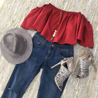 Summer Women Ruffled Off Shoulder Crop Top  Blouse Vest Tank T-Shirt