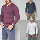 UK Men's Slim Fit V Neck Long Sleeve Muscle Tee T-shirt Casual Tops Blouse TY