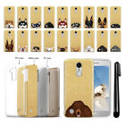 For LG Aristo MS210 LV3 K8 (2017) Dog Design Sparkling Gold TPU Case Cover + Pen