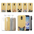 For LG Stylo 3 Plus Stylo 3 Stylus 3 Cat Design Sparkling Gold Case Cover + Pen