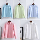 Women Fashion Soft Cotton Blouse Casual Long Sleeve Oxford Office Shirt Printing