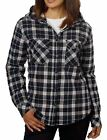 Boston Traders Women's Hooded Sherpa Lined Flannel Shirt Black/White