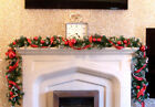 Luxury 2.7m Red Bauble Tartan Ribbon Frosted Christmas Garland Apples acorns 9ft