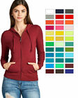 Внешний вид - Women's Basic Zip Up Long Sleeve Hoodie Jacket Lined Drawstring Hood w/ Pockets