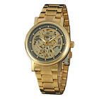 Luxury Men Gold Engrave Transparent Stainless Steel Self Wind Mechanical Watches