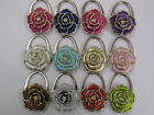 CHOICE OF STUNNING ROSE SHAPED PRETTY HANDBAG TABLE HOOK HOLDER 2 IN 1 ACCESSORY