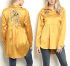 Mustard Silky Satin Floral Embroidery Collar Button Down Top Blouse Tunic Shirt