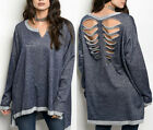 Distressed Ripped Slit 90s Grunge Punk Boyfriend Sweatshirt pullover Tunic Top