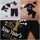 Christmas NEW YEAR'S Newborn Toddler Baby Boy Girls Romper Pants Hat Outfits Set