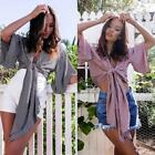 Summer Women Casual Tank Blouse 3/4 Sleeve Crop Tops Bandage Tie Front Shirt LA